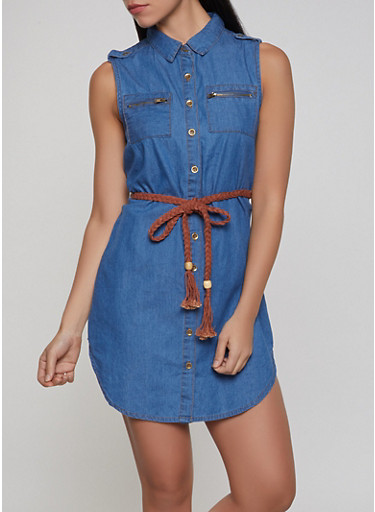 Belted Denim Shirt Dress | 1090038340709,MEDIUM WASH,large