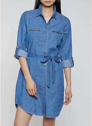 Belted Denim Shirt Dress,MEDIUM WASH,large