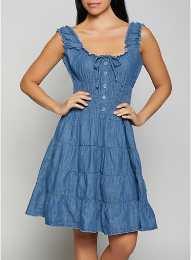 Denim Peasant Dress,MEDIUM WASH,large