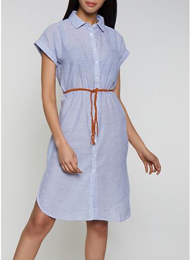 Striped Midi Shirt Dress,CHAMBRAY,large