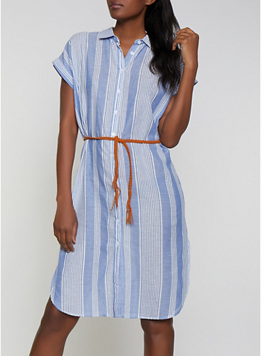 Belted Striped Shirt Dress,CHAMBRAY,large