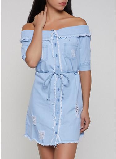 Fold Over Off the Shoulder Denim Dress,LIGHT WASH,large