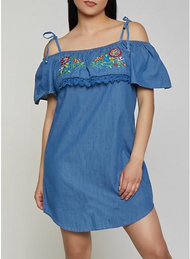 Embroidered Off the Shoulder Denim Dress,MEDIUM WASH,large
