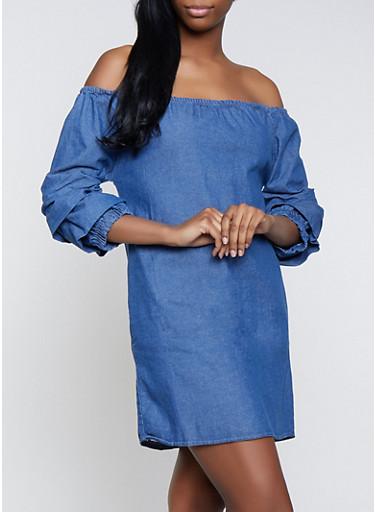 Off the Shoulder Tiered Sleeve Denim Dress,DENIM,large