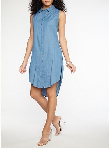 Sleeveless Button Front Denim Dress,MEDIUM WASH,large