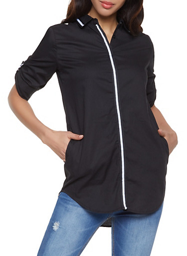 Stripe Tape Trim Shirt,BLACK,large