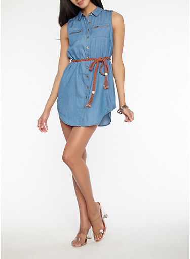 Belted Button Front Chambray Dress,MEDIUM WASH,large