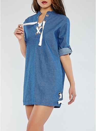 Lace Up Denim Dress,MEDIUM WASH,large
