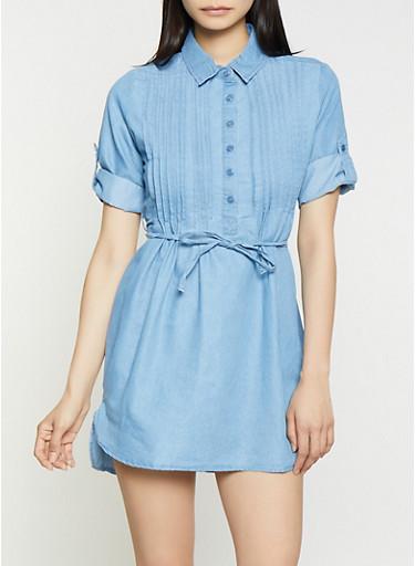Pleated Denim Mini Shirt Dress,LIGHT WASH,large