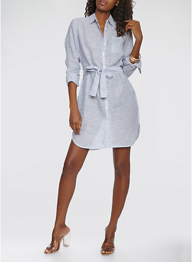Striped Linen Button Front Dress | Tuggl