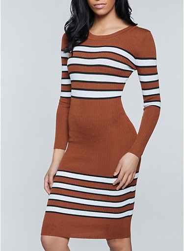 Striped Ribbed Sweater Dress,BRONZE,large