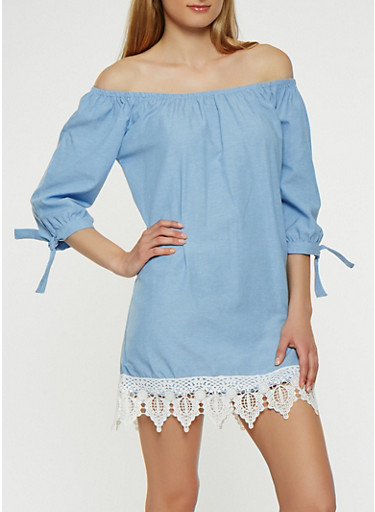 Off the Shoulder Chambray Dress,CHAMBRAY,large