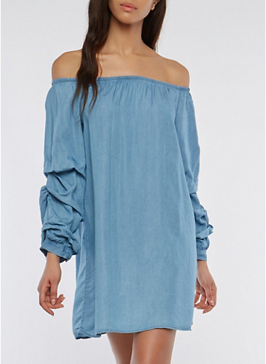 Off the Shoulder Chambray Tiered Sleeve Shift Dress,BLUE,large