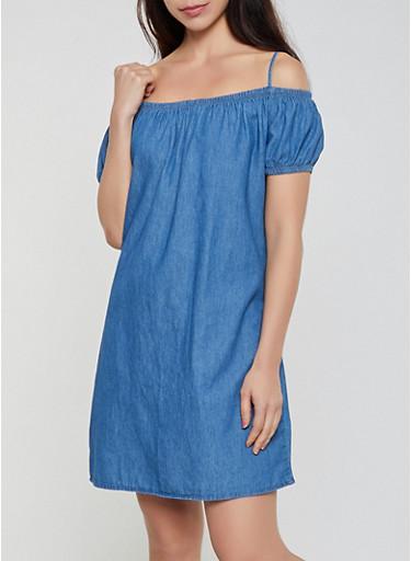 Chambray Cold Shoulder Shift Dress,MEDIUM WASH,large