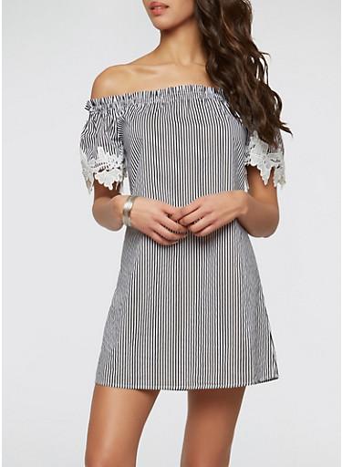 Striped Off the Shoulder Dress   Tuggl