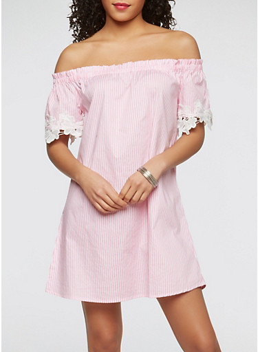 Striped Off the Shoulder Dress,WHITE/PINK,large