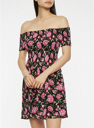 Floral Smocked Off the Shoulder Dress,BLACK,large