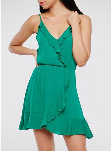 Faux Wrap Ruffle Dress,KELLY GREEN,large