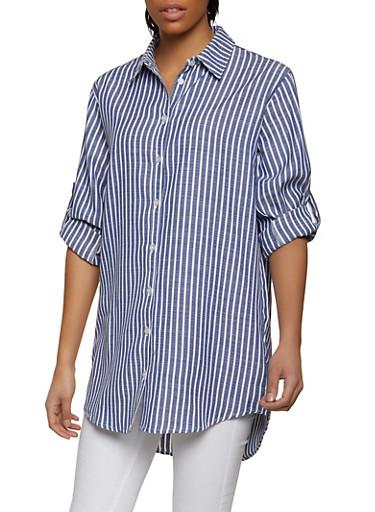 Striped Linen Shirt,DENIM,large