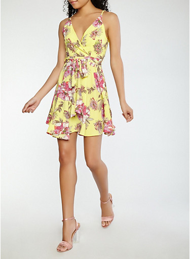 Sleeveless Floral Faux Wrap Dress,YELLOW,large