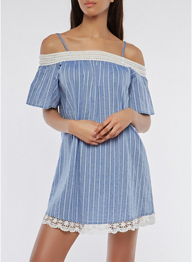Striped Crochet Trim Off the Shoulder Dress,CHAMBRAY,large