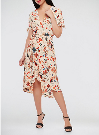 Printed Wrap Dress | Tuggl