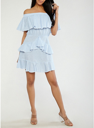 Striped Ruffled Off the Shoulder Dress,BLUE,large