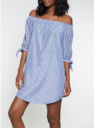 Striped Off the Shoulder Peasant Dress,BLUE,large
