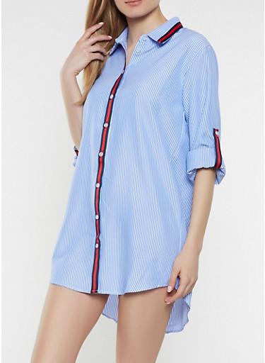 Striped Contrast Ribbon Trim Shirt Dress,BLUE,large