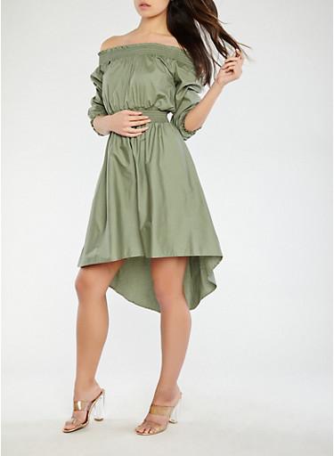 High Low Off the Shoulder Dress,OLIVE,large