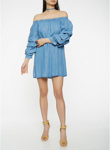 Chambray Off the Shoulder Dress,BLUE,large