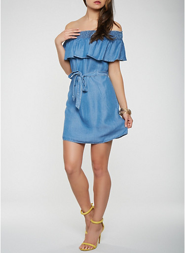 Chambray Off the Shoulder Belted Dress,BLUE,large