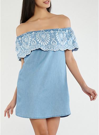 Embroidered Denim Off the Shoulder Dress,BLUE,large