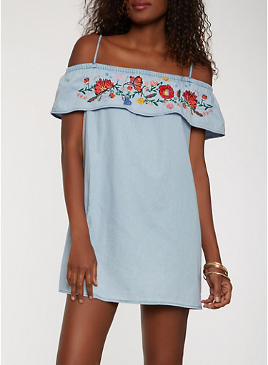 Off the Shoulder Embroidered Chambray Dress,BLUE,large