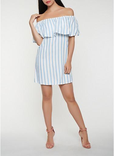 Striped Off the Shoulder Dress,BLUE,large