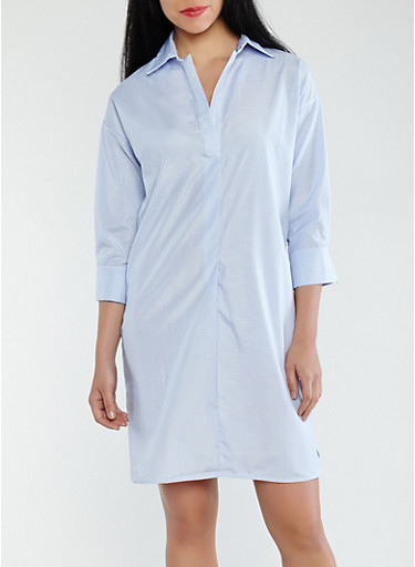 Striped Shirt Dress,WHITE/BLUE,large