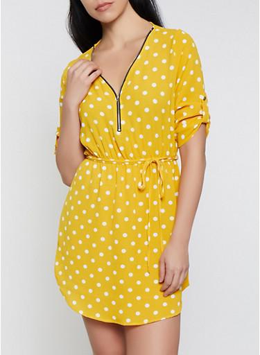 Polka Dot Half Zip Dress,MUSTARD,large