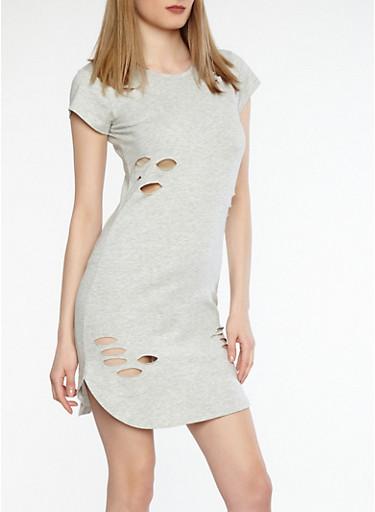 Distressed T Shirt Dress,HEATHER,large