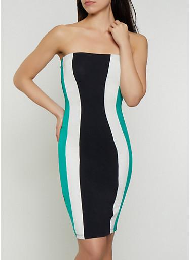 Color Block Tube Dress,GREEN,large