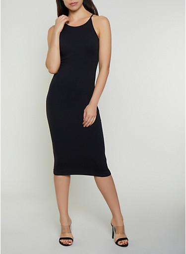 Solid Midi Cami Dress,BLACK,large