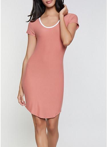Contrast Trim T Shirt Dress,RUST,large