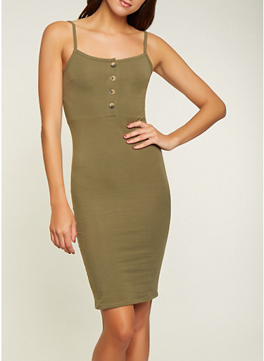 Solid Cami Bodycon Dress,OLIVE,large