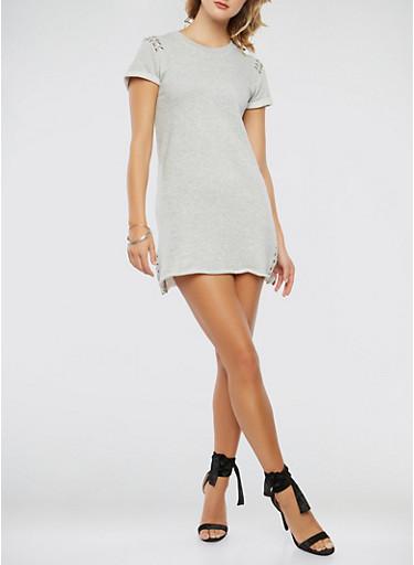Pierced Grommet Detail Sweatshirt Dress,HEATHER,large