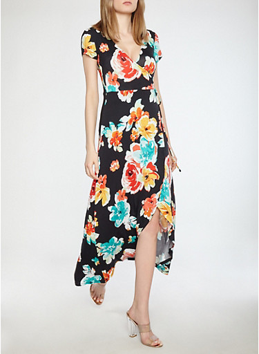 Floral Faux Wrap Maxi Dress,BLACK BEAUTY,large