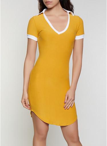 Collar Detail T Shirt Dress,YELLOW,large