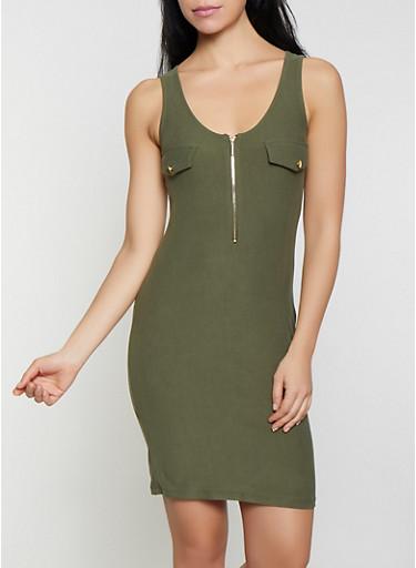 Zip Neck Bodycon Tank Dress,OLIVE,large