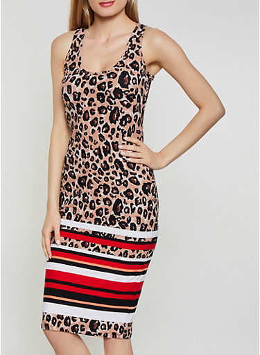 Striped Trim Animal Print Tank Dress,BLACK,large