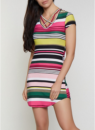 Caged Striped T Shirt Dress,MULTI COLOR,large