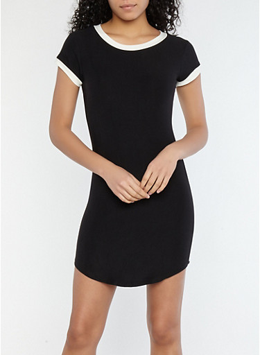 Soft Knit Contrast Trim T Shirt Dress at Rainbow Shops in Jacksonville, FL | Tuggl