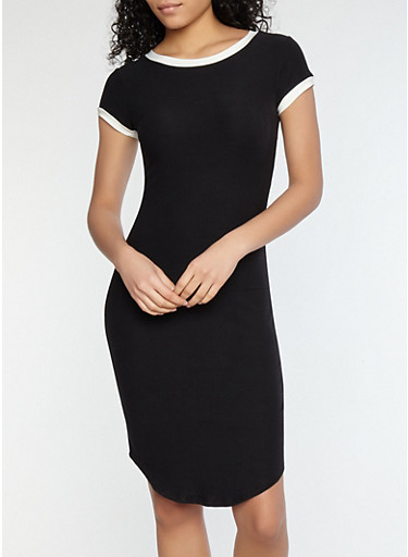 Soft Knit Contrast Trim T Shirt Dress,BLACK/MARSHMALLOW,large